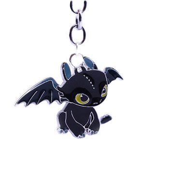 New Style Hot Movie Animation 2 Toothless Night Fury Animal Pendant Keychain Key Holder
