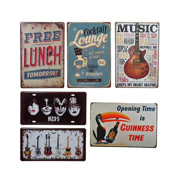 Vintage Metal Tin Sign Poster Music Wine Decorative Signs Plaque Retro Style Iron Sign Painting For Home Decor Club Dropshipping