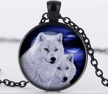 Vintage white wolf glass pendant charm glass Cabochon silver chain Necklace jewelry statement necklace NEW Jewelry N919